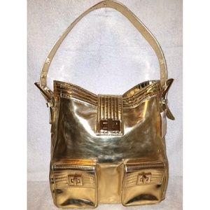 Extra-large gold patent leather hobo handbag